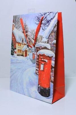 Christmas LARGE ASSORTED TRADITIONAL SCENE DESIGN GIFT BAGS set of 3pcs wholesale price