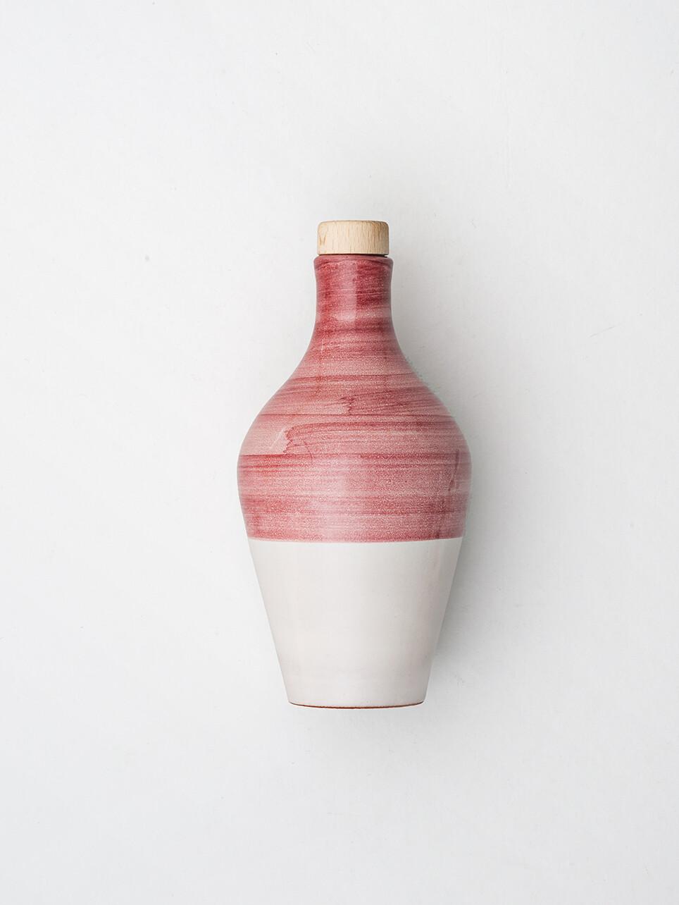 La Fiaschetta Extra Natives Olivenöl,  470ml Keramikkrug in Rot