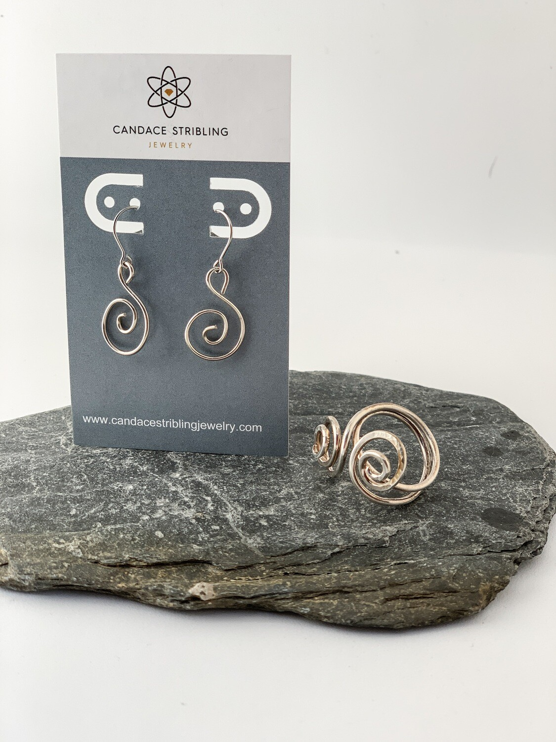 Small Sterling Silver Spiral Earrings and Ring