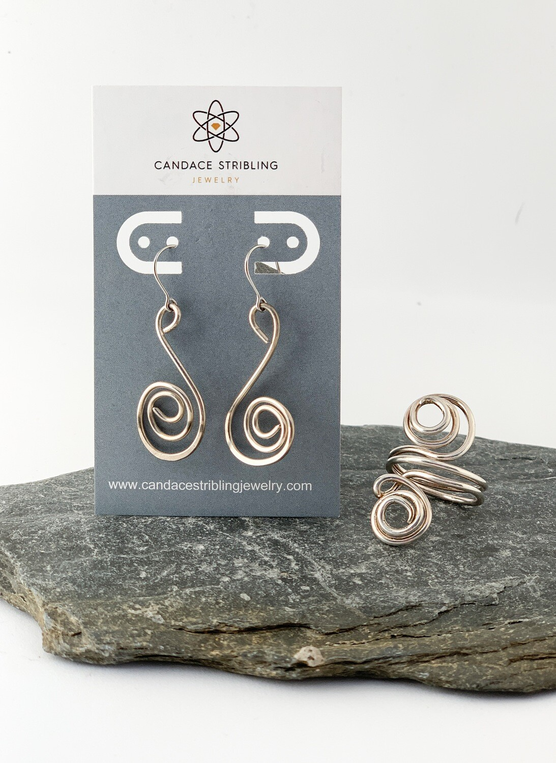 Sterling Silver Spiral Earrings and Ring