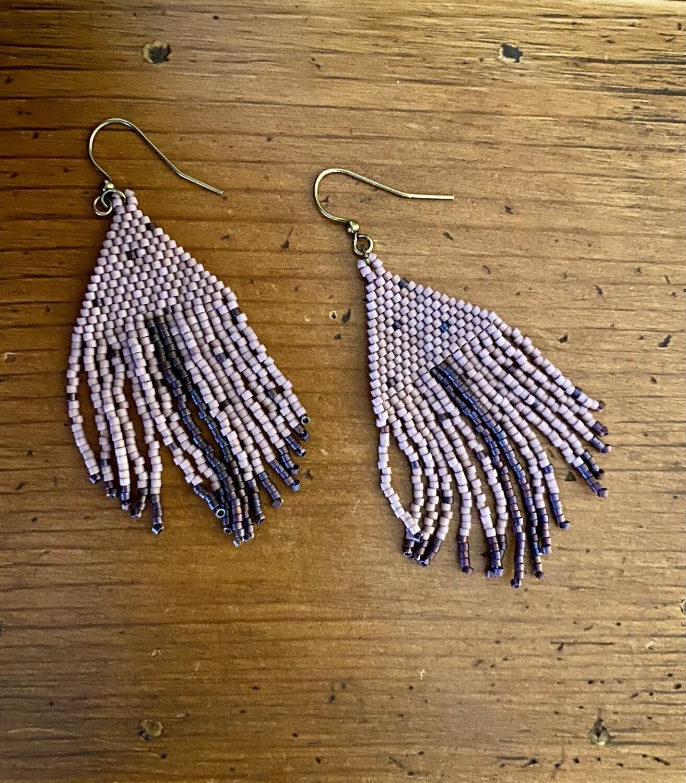 Purple Handwoven Bead Fringe Earrings