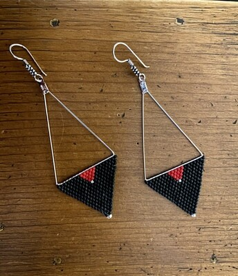 Black, Red and Silver Handwoven Bead Earrings