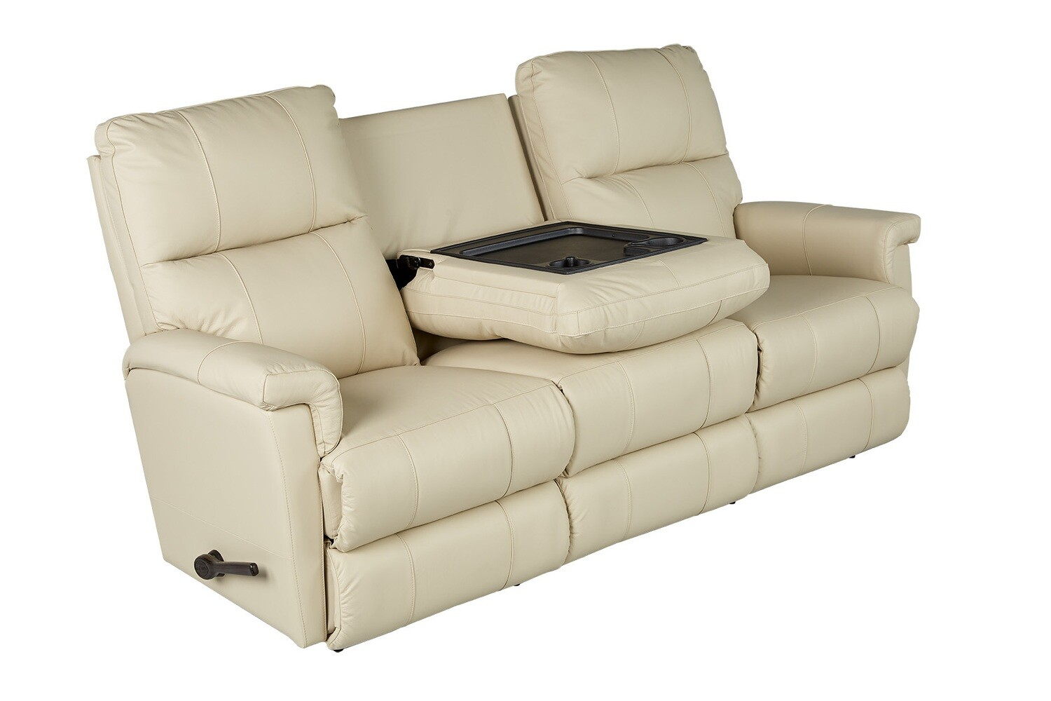ETHAN Leather Reclining Sofa w/ Drop Down Table