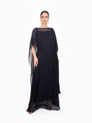 SHEER TUNIC WITH PLEATED DETAIL