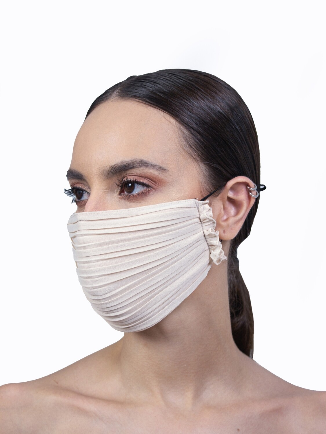 PLEATED FACE MASK - BEIGE