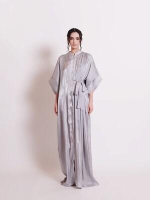 SIGNATURE SHIRT DRESS - SILVER