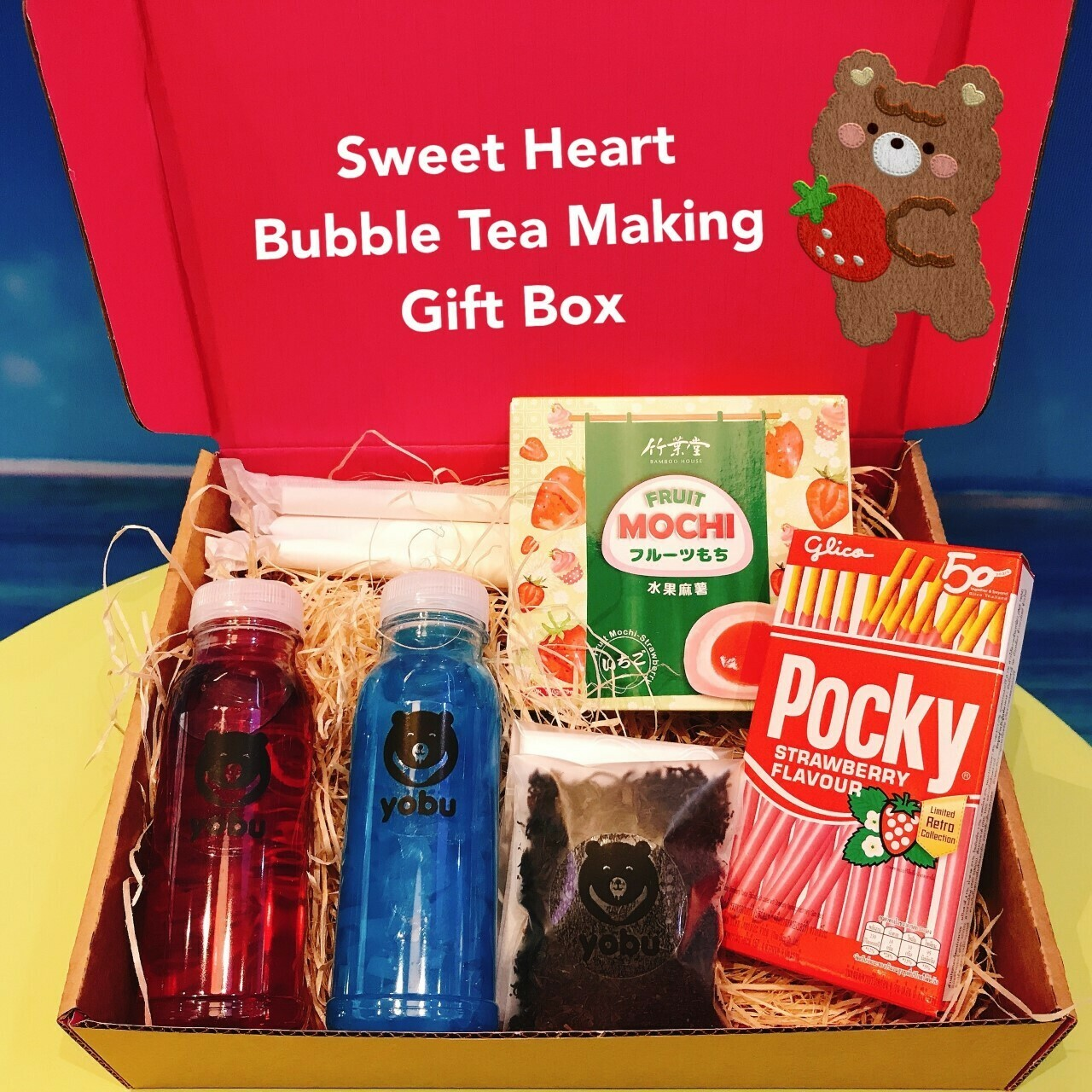 Sweet Heart Bubble Tea Making Postal Gift Box - Sweet Love Fruit Tea