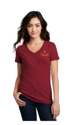 Women's V-neck T-shirt (Red)