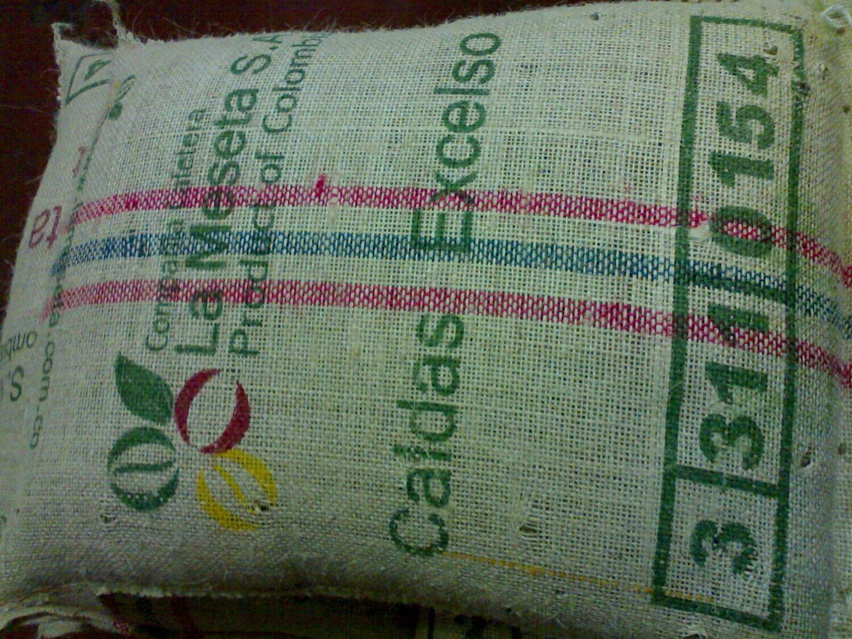 Saco vacío de café de Colombia