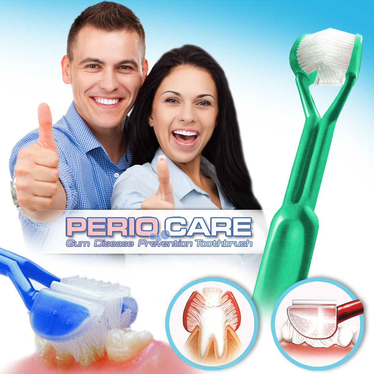DenTrust PERIOCARE 3-Sided Toothbrush :: Advanced Wrap-Around Design :: Fast, Easy & More Effective :: Clinically Proven to Remove More Plaque & Prevent Gum Disease