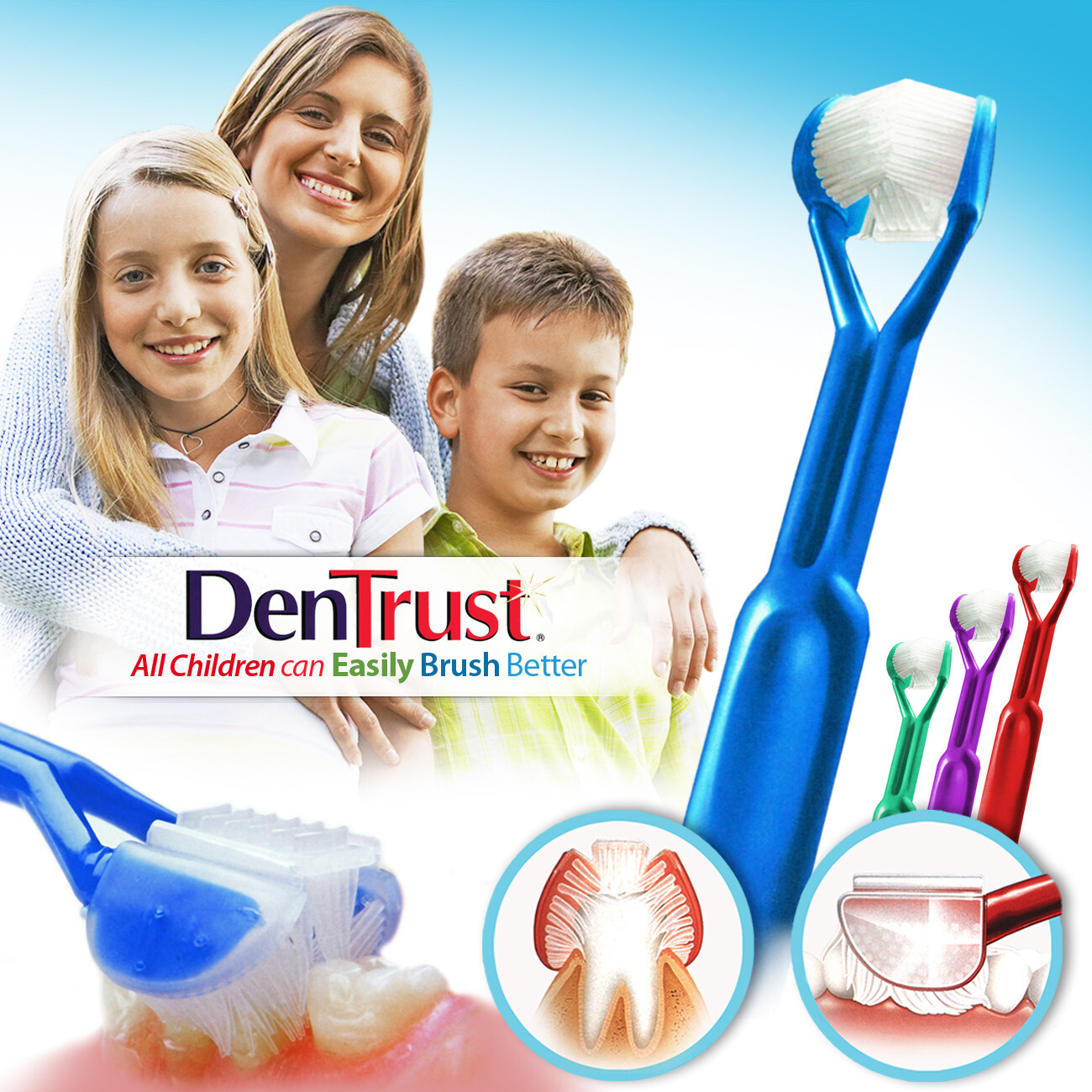4-PK: DenTrust 3-SIDED Toothbrush : All Children Can Easily Brush Better :: Clinically Proven Results :: Fast, Easy & More Effective for Youth Teens Children Child Special Needs Autism Braces