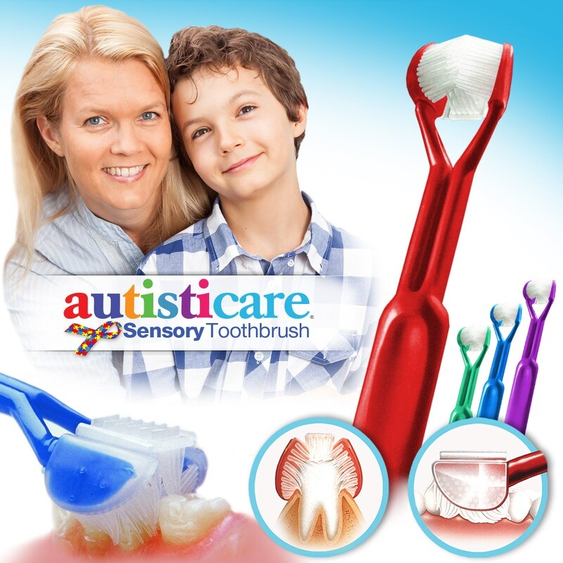4-PK: Autisticare Sensory Toothbrush :: Special Needs 3-Sided Toothbrush :: Fast, Easy & More Effective :: Complete Dental Care for Autism ASD Autistic
