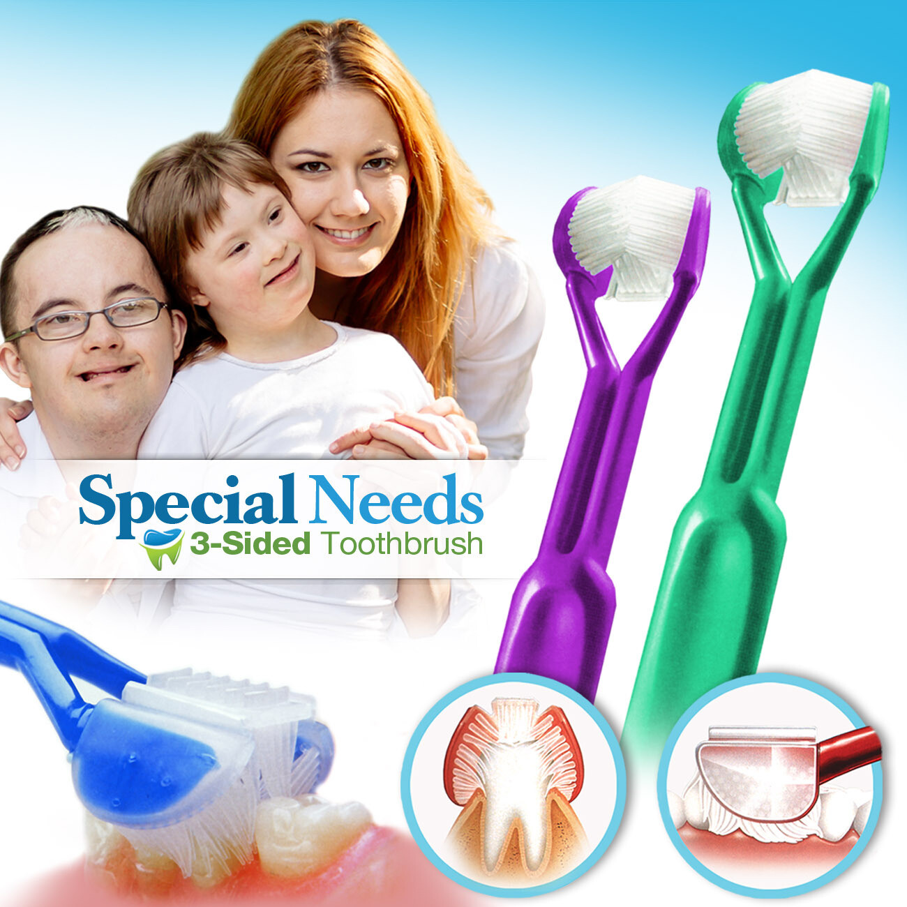 2-PK :: DenTrust 3-Sided Toothbrush :: Caregivers & Assisted Brushing for Special Needs  :: Fast, Easy & More Effective :: Complete Dental Care
