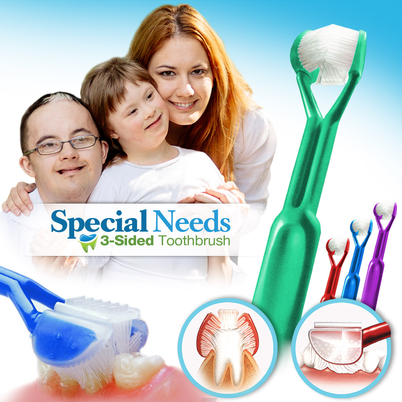 4-PK: DenTrust 3-Sided Toothbrush :: Caregivers & Assisted Brushing for Special Needs :: Fast, Easy & More Effective :: Complete Dental Care  for Autism ASD