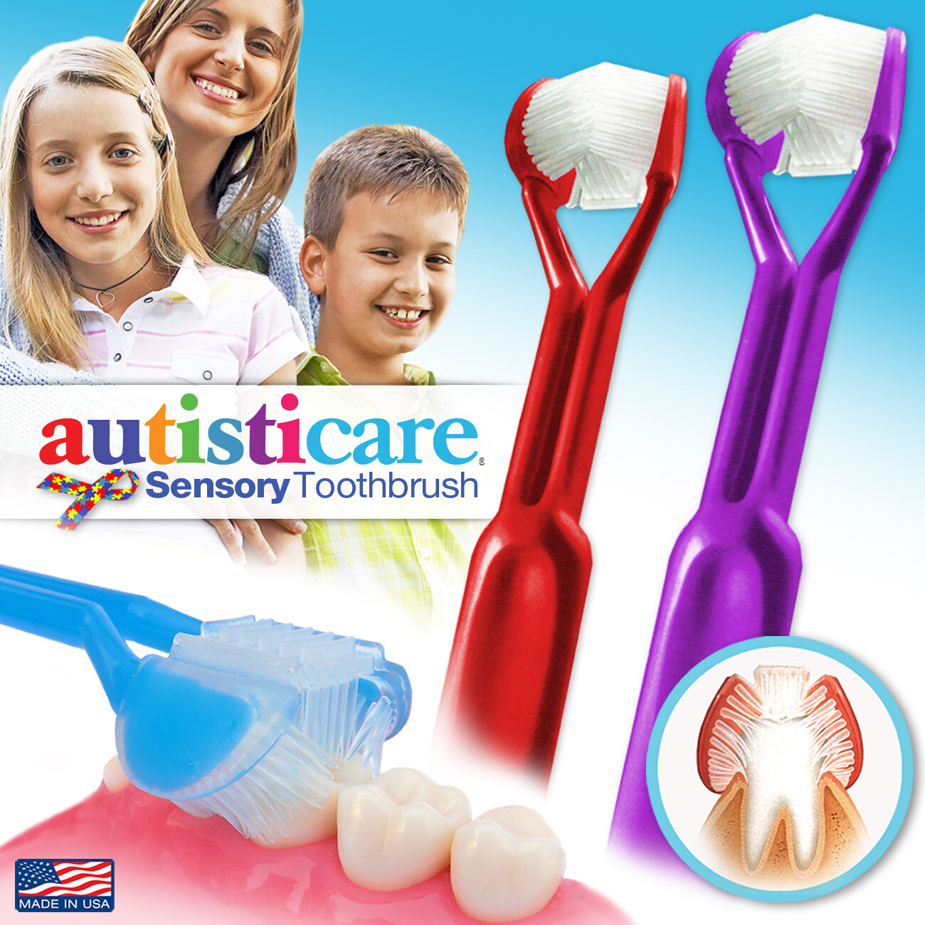 2-PK | DenTrust Autisticare | The Only Child-Safe 3-Sided Toothbrush | Made in USA | Fast, Easy & Clinically Proven | Special Needs Autism Autistic Asperger Therapy Caregiver Tactile Sensory Calming