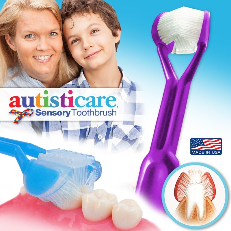 DenTrust Autisticare | The Only Child-Safe 3-Sided Toothbrush | Made in USA | Fast, Easy & Clinically Proven | Special Needs Autism Autistic Asperger Therapy Caregiver Tactile Sensory Calming