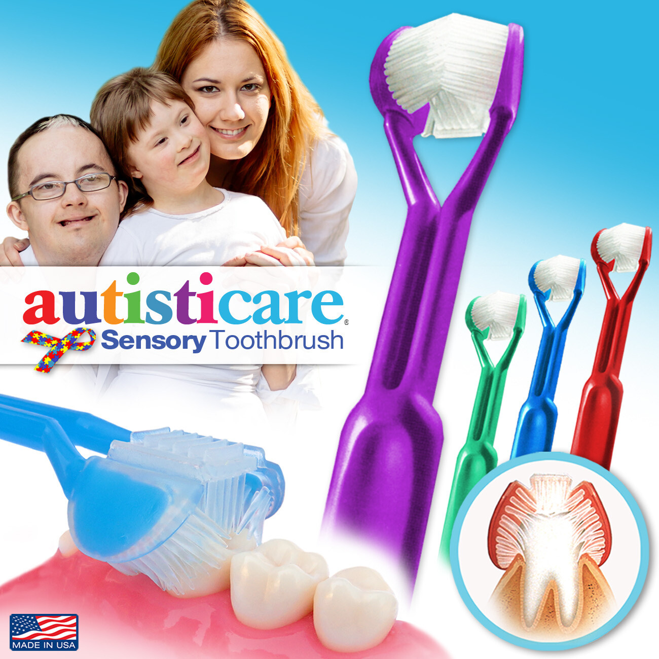 4-PK | DenTrust Autisticare | The Only Child-Safe 3-Sided Toothbrush | Made in USA | Fast, Easy & Clinically Proven | Special Needs Autism Autistic Asperger Therapy Caregiver Tactile Sensory Calming