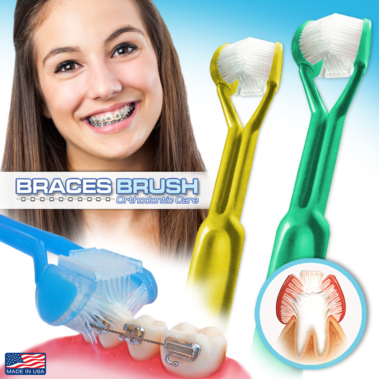 2-PK | DenTrust 3-Sided Braces Brush | The Only Toothbrush Clinically Proven Better for Orthodontic Brackets | Easily Brush Better & Prevent Gum Disease | Tongue Scraper for Fresh Breath | MADE IN USA