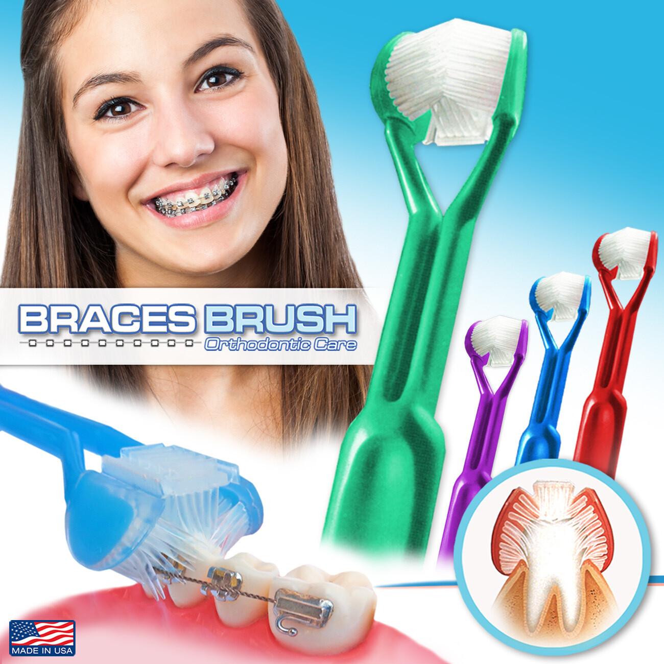 4-PK | DenTrust 3-Sided Braces Brush | The Only Toothbrush Clinically Proven Better for Orthodontic Brackets | Easily Brush Better & Prevent Gum Disease | Tongue Cleaner for Fresh Breath | MADE IN USA