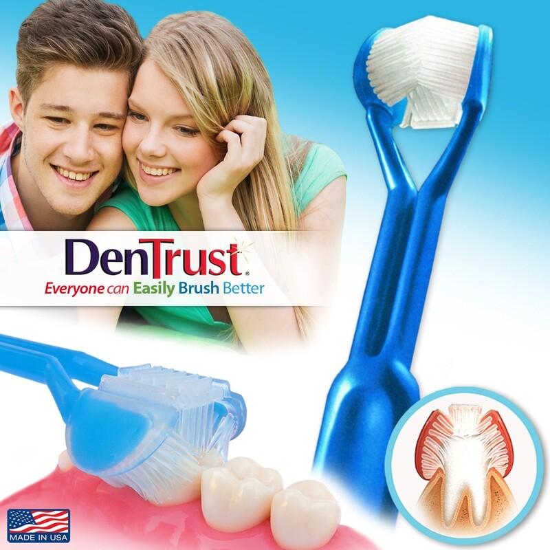 DenTrust | The Only Child-Safe 3-SIDED Toothbrush | Made in USA | Easily Brush Better | Clinically Proven Results | Triple Clean White Smile Fresh Breath | Kids Children Braces Special Needs XMAS GIFT