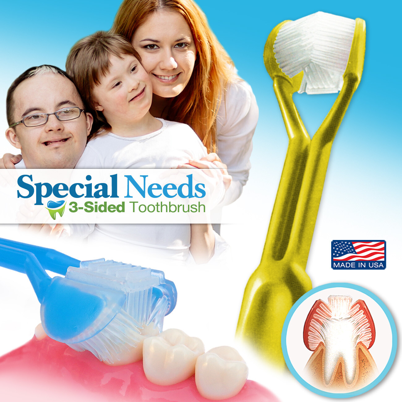 DenTrust for Special Needs   The Only Child-Safe 3-SIDED Toothbrush   Made in USA   Fast, Easy & Clinically Proven   Autism ASD Autistic Aspergers Therapy Parent Caregiver Tactile Sensory Calming Rett