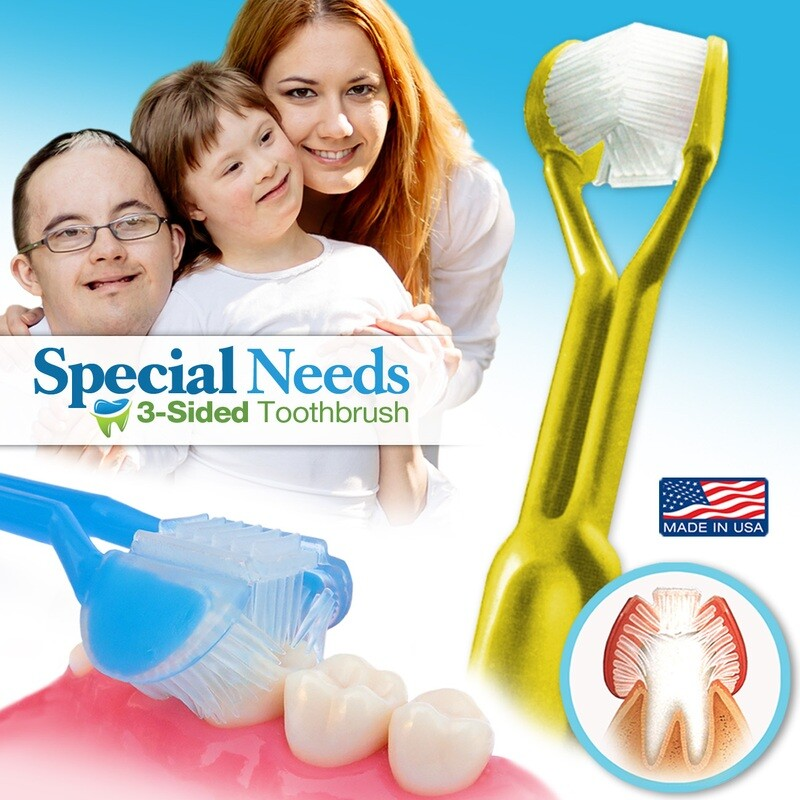 DenTrust for Special Needs | The Only Child-Safe 3-SIDED Toothbrush | Made in USA | Fast, Easy & Clinically Proven | Autism ASD Autistic Aspergers Therapy Parent Caregiver Tactile Sensory Calming Rett