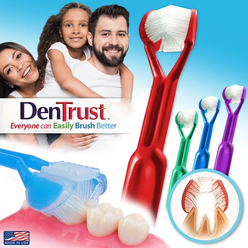 4-PK | DenTrust The Only Child-Safe 3-SIDED Toothbrush  | Easily Brush Better | Clinically Proven Results | Fast, Easy & More Effective for: Adults, Teens, Kids, Children & Special Needs | Made in USA