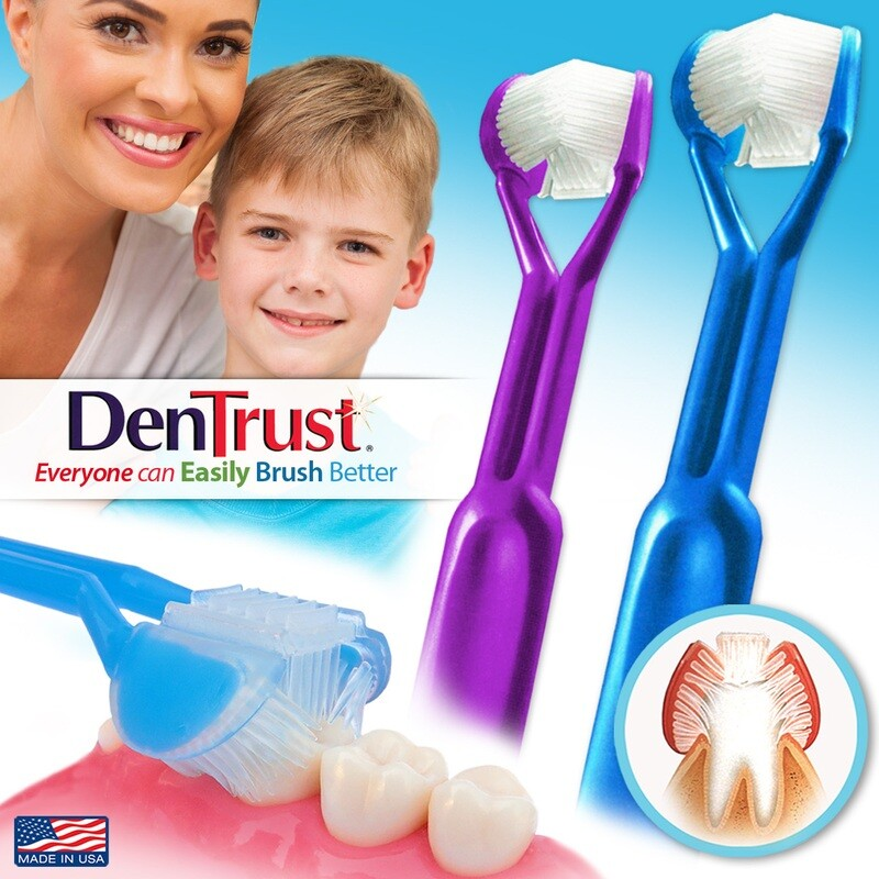 2-PK | DenTrust | The Only Child-Safe 3-SIDED Toothbrush | Made in USA | Easily Brush Better | Clinically Proven | Fast Easy & More Effective for Youth Teens Children Child Special Needs Autism Braces