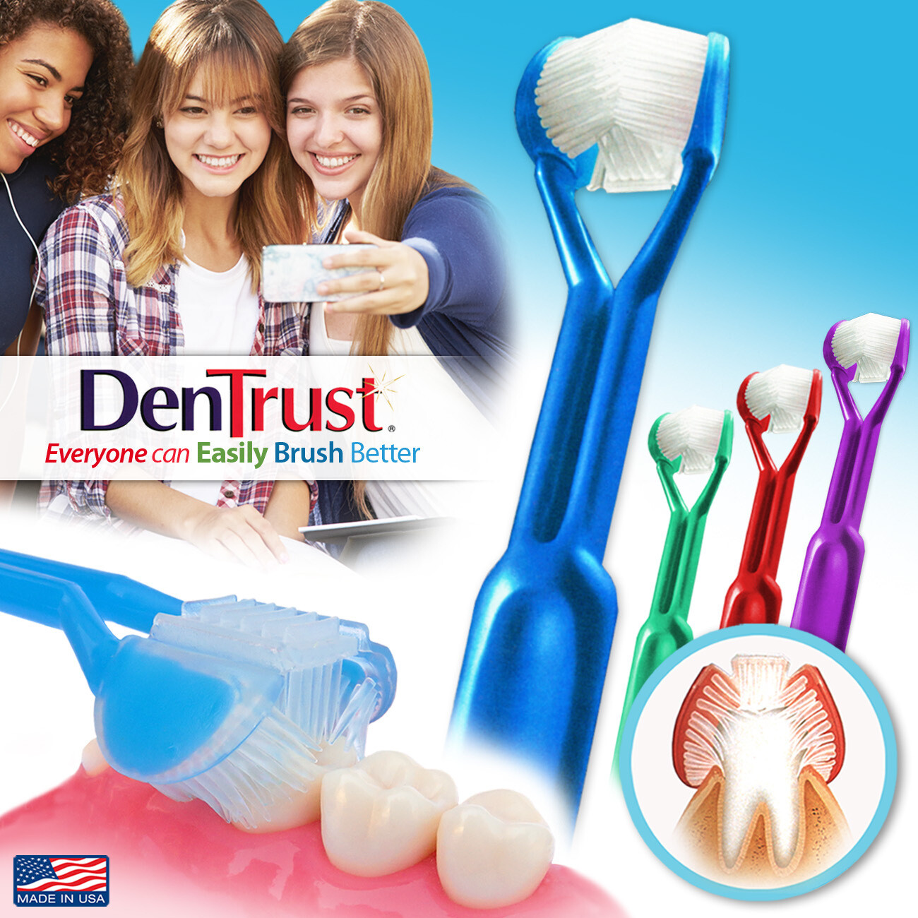 4-PK | DenTrust | The Only Child-Safe 3-SIDED Toothbrush |  Children Can Easily Brush Better | Clinically Proven, Fast, Easy & More Effective for Youth Teens Children Special Needs Autism Braces | USA