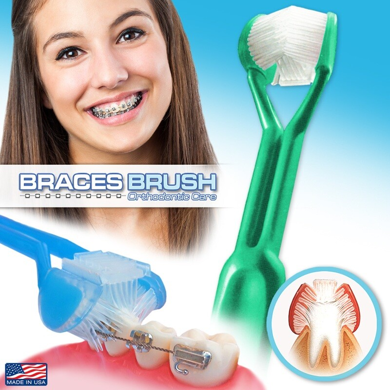 DenTrust 3-Sided Braces Brush | The Only Toothbrush Clinically Proven to Remove More Plaque Around Bracket's & Orthodontic's | Tongue Scraper for Fresh Breath | MADE IN USA