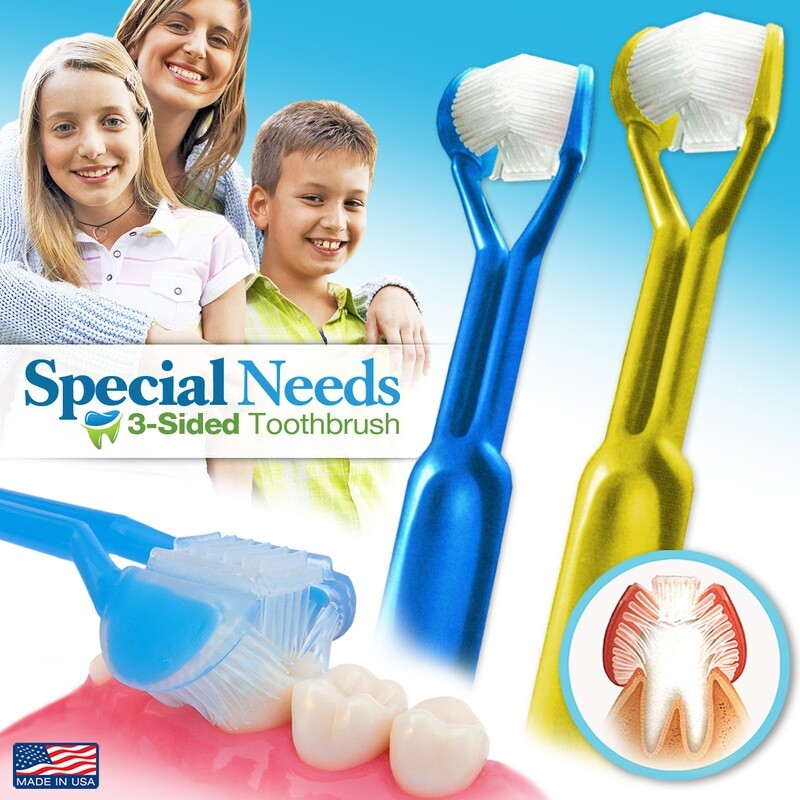 2-PK | DenTrust for Special Needs | The Only Child-Safe 3-SIDED Toothbrush | Made in USA | Fast Easy & Clinically Proven | Autism ASD Autistic Asperger Therapy Parent Caregiver Tactile Sensory Calming