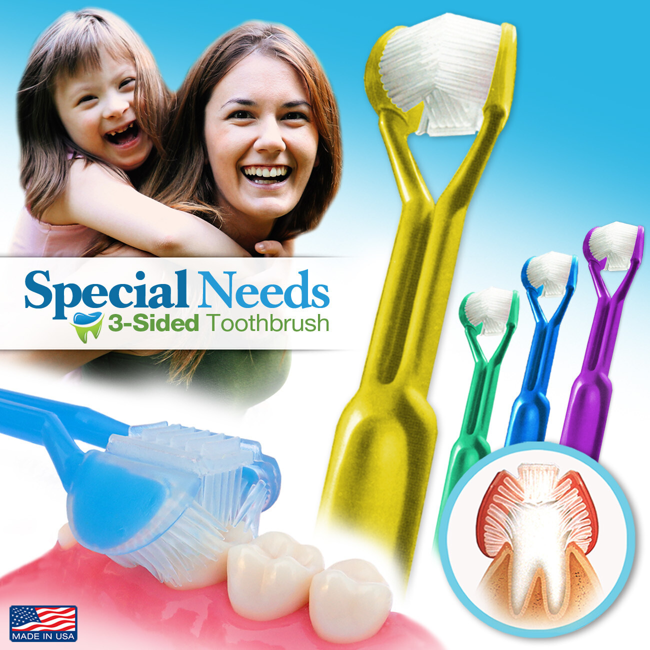 4-PK | DenTrust for Special Needs | The Only Child-Safe 3-SIDED Toothbrush | Made in USA | Fast Easy & Clinically Proven | Autism ASD Autistic Asperger Therapy Parent Caregiver Tactile Sensory Calming