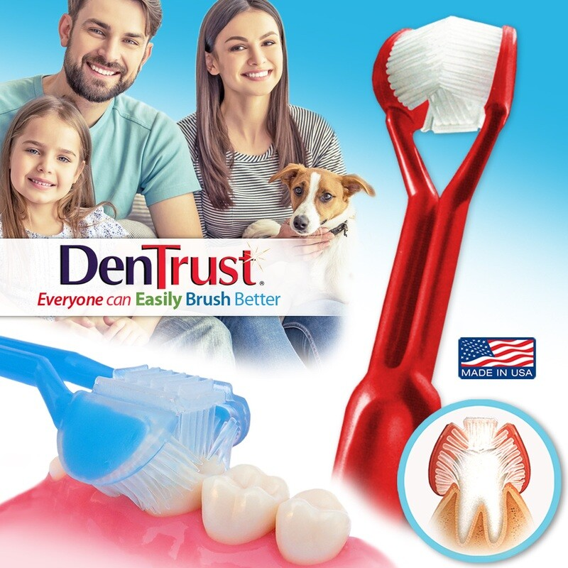 DenTrust: The Only Child-Safe 3-SIDED Toothbrush | Made in USA | Clinically Proven to Prevent Gum Disease & Gingivitis | Complete Clean + Tongue Scraper | Triple Whitening Soft Brush Head Fresh Breath