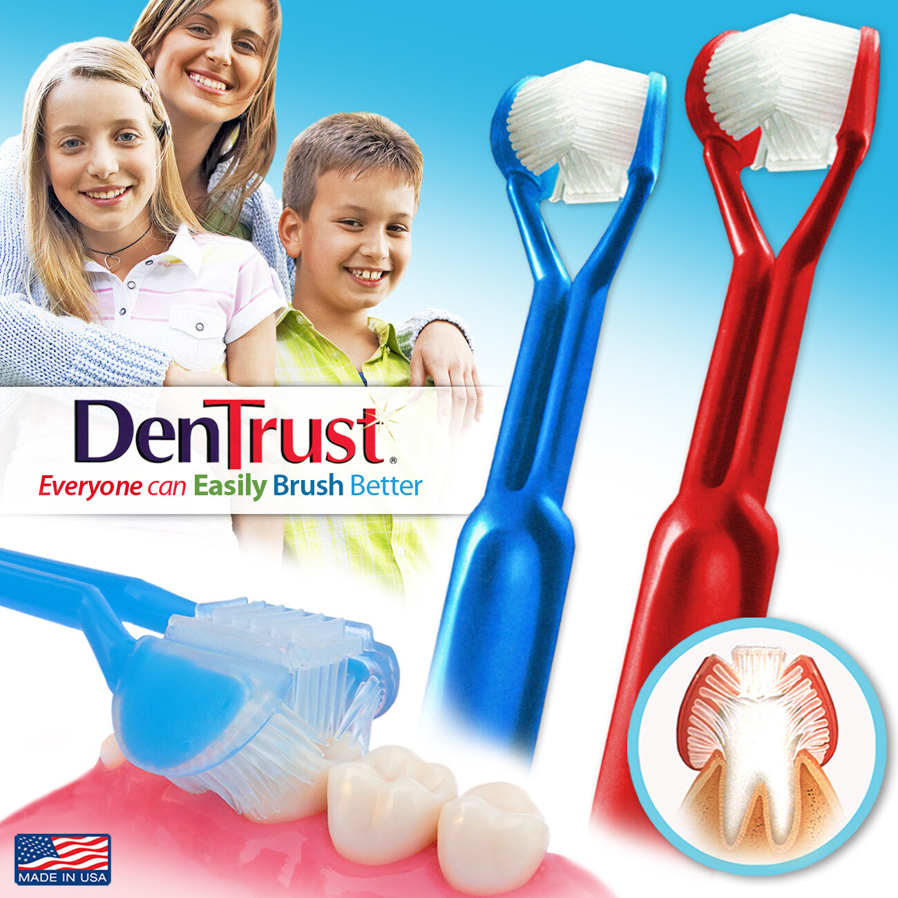 2-PK | DenTrust The Only Child-Safe 3-SIDED Toothbrush  | Easily Brush Better | Clinically Proven Results | Fast, Easy & More Effective for: Adults, Teens, Kids, Children & Special Needs | Made in USA