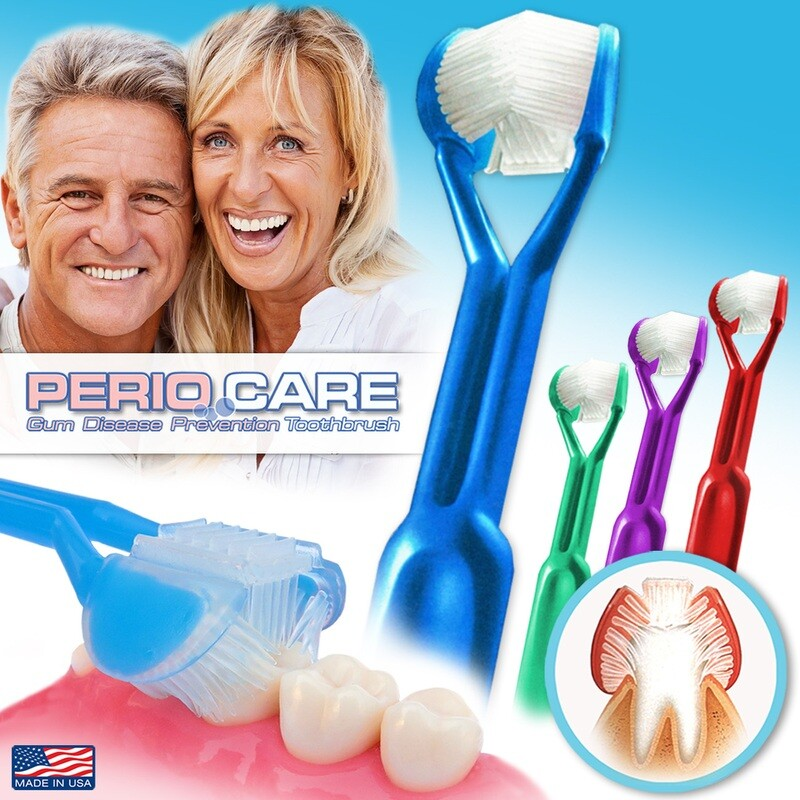 4-PK | DenTrust Periocare 3-SIDED Toothbrush | Clinically Proven to Prevent Gum Disease | Made in USA | Tongue Scraper Periodontal Gingivitis Bleeding Gums Soft Inflammation Interproximal Interdental