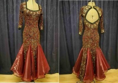 F Burgundy/Black Junior Ballroom Dress
