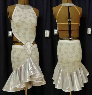 White/ Silver Junior Latin Dress