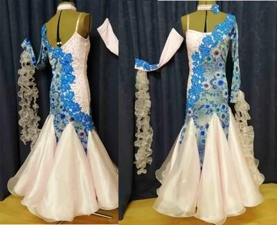 Pale Pink/ Blue Junior Ballroom Dress.