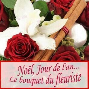 Bouquet de Noël ton rouge/blanc