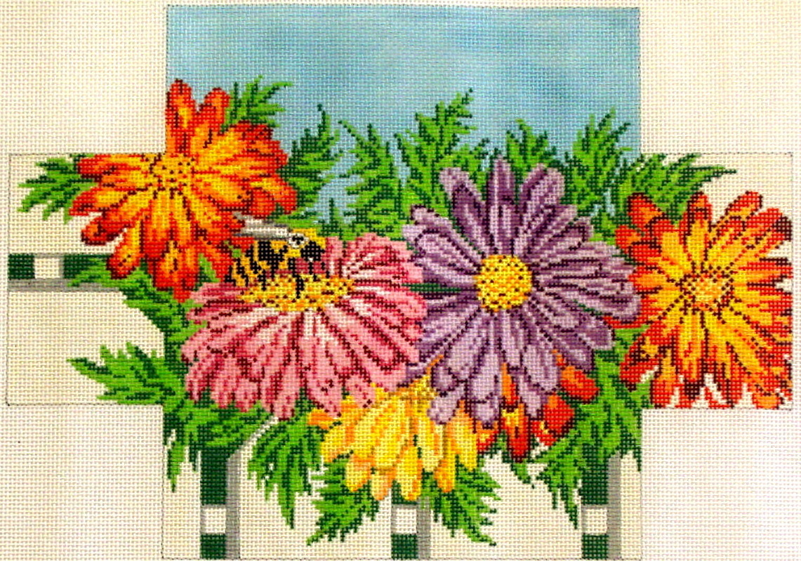 Mums & Bee Brickcover (handpainted from Needle Crossing)