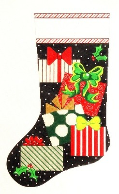 Presents on Black     (hand painted needlepoint canvas from The Meredith Collection)