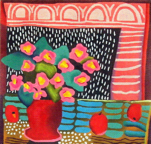 Pink Violets    (handpaainted needlepoint canvas from Melissa Shirley)