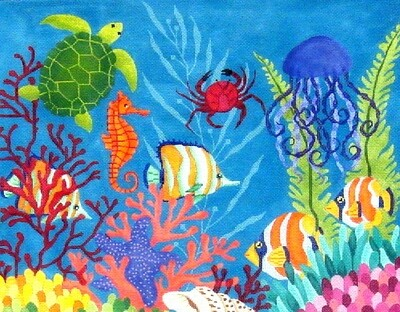 Down Under the Sea  (handpainted needlepoint canvas from JP Needlepoint)