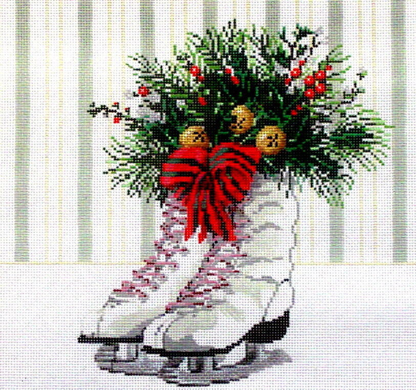 Silver Skates     (hnadpainted needlepoint canvas by Sandra Gilmore)