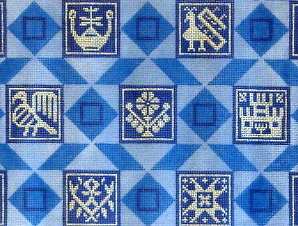 Silver, Blue & Purple Tallis       (handpainted from Fleur de Paris)