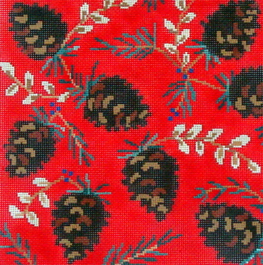 Ruby Pine Cones   (hanpainted needlepoint canvas from CBK Designs)