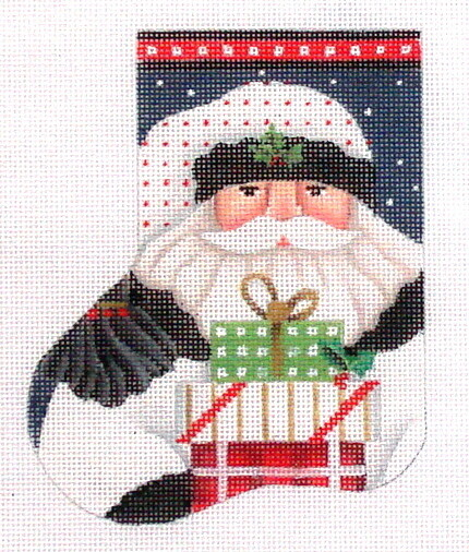White Santa mini sock, hand painted from Melissa Shirley