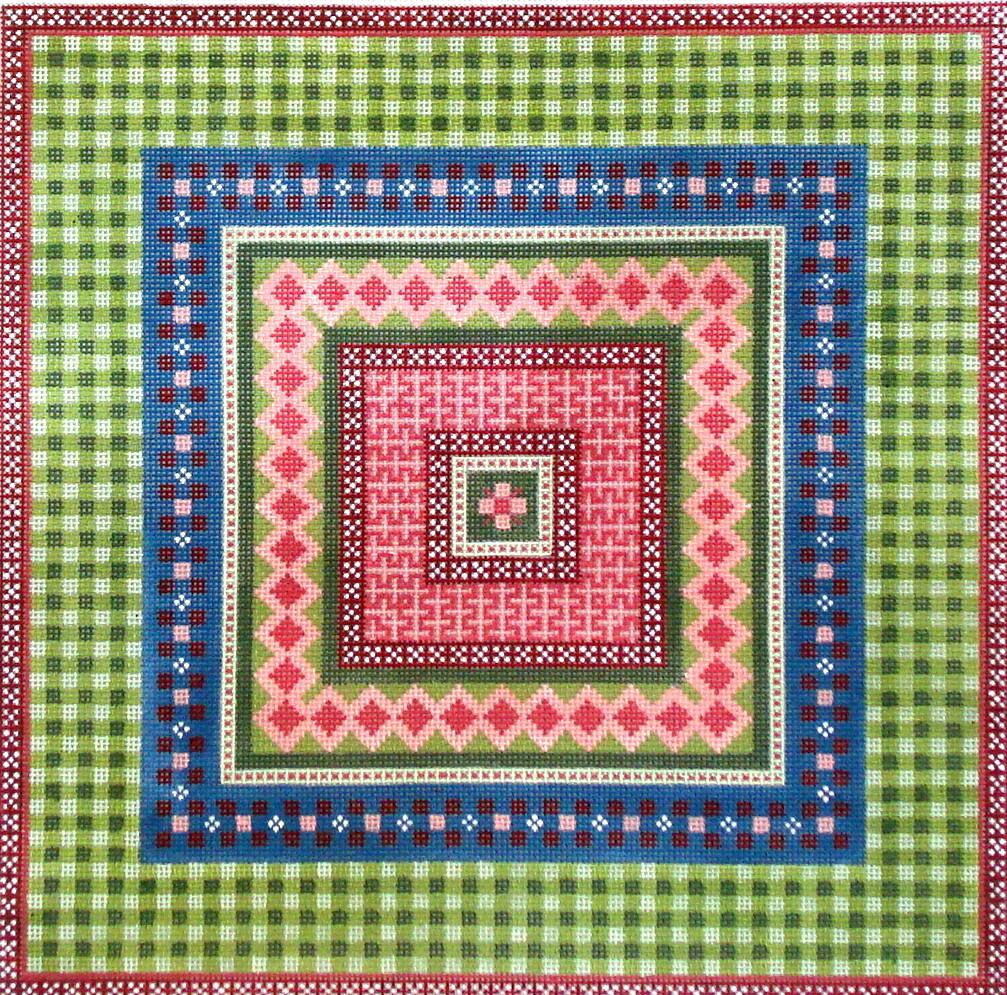 Green Gingham Geometric     (handpainted JP Needlepoint