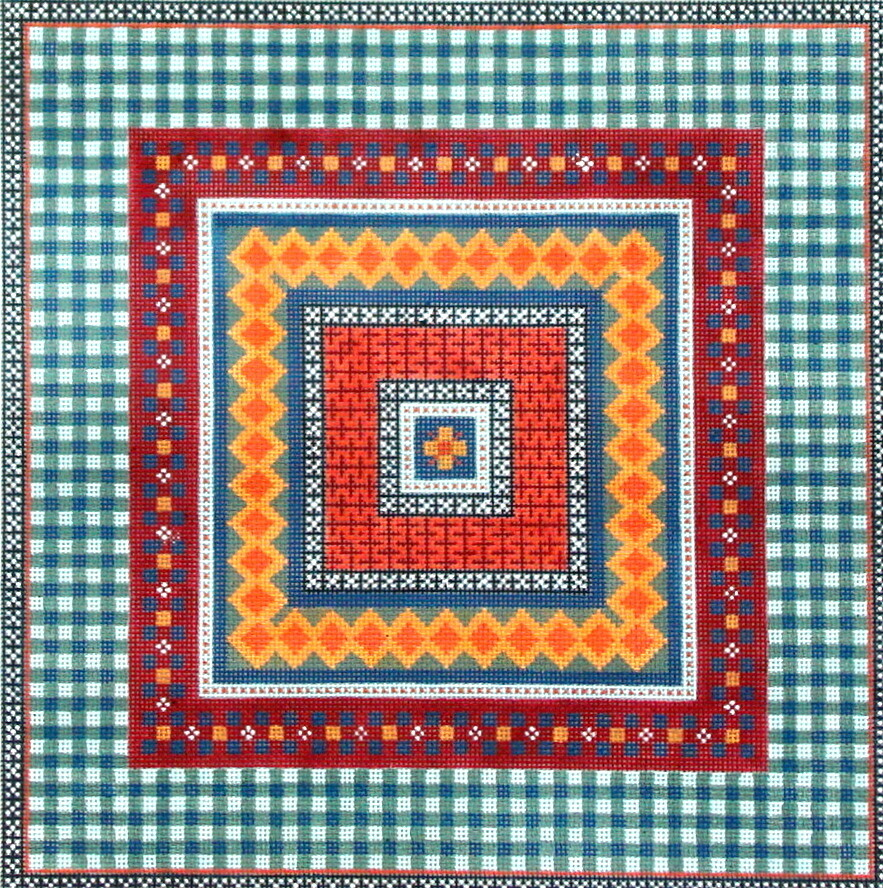 Blue Gingham Geometric    (handpainted from JP Needlepoint