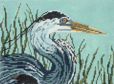 Great Blue Heron     (hand painted from Needle Crossing)